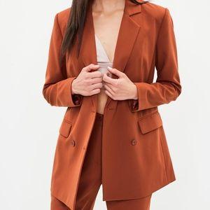 Orange Button Double Breasted Longline Blazer